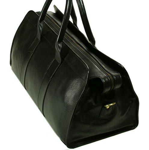 Top Grain Calf Leather 20'' Weekender Overnight Travel Duffel in Black by Leftover Studio by Leftover Studio (Image #2)