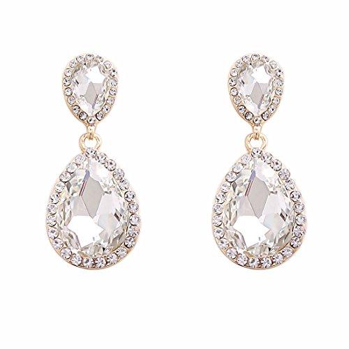 (NLCAC Clear Crystal Wedding Earrings Dangle Teardrop Pear Shape Long Chandelier Earring Bridal)