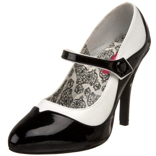 Pleaser Women's Tempt-07 Platform Pump - Black/White - 6 ...