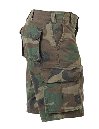 ROTHCO Paratrooper Mens Cargo Shorts Woodland Camo size Large by Rothco
