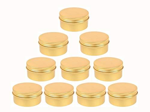JKLcom Golden Metal Tin 10Pack,Round Screw Top Flat Metal Tin Container Metal Steel Tin Jars (3 OZ) ()
