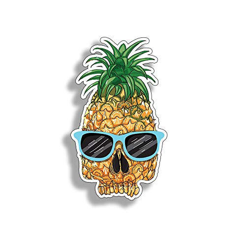 Pineapple Skull Face Sticker Full Color Die Cut Car Truck Laptop Cup Window Bumper Glass Colorful Vinyl Decal Graphic