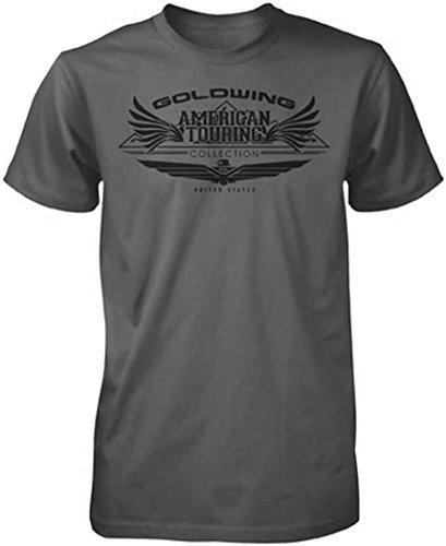 Honda Mens Goldwing Tour Collection Short-Sleeve T-Shirt, Charcoal, (Vintage Honda Goldwing)