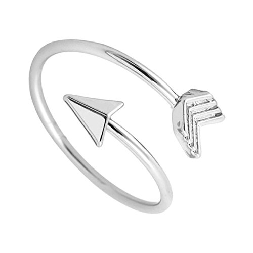 BRBAM Adjustable Love Struck Arrow Ring High Polished Wrap Ring for Woman (Silver) (Wrap Arrow Ring)