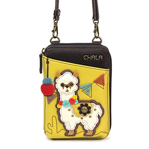 Chala Wallet Crossbody Cell Phone Purse-Women Faux Leather Multicolor Handbag with Adjustable Strap - Llama Mustard Cell Phone Purse Charm