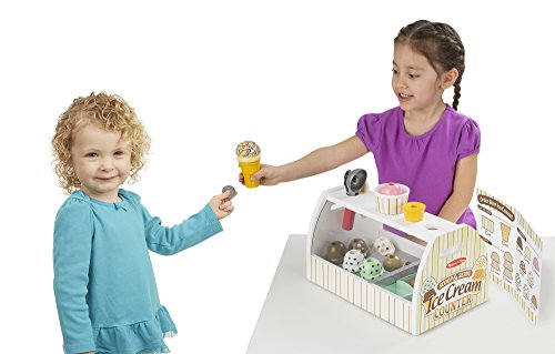 Melissa & Doug Wooden Scoop and Serve Ice Cream Counter (20 pcs) – Play Food and Accessories