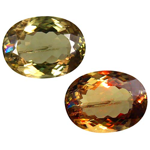 Deluxe Gems 8.68 ct Oval Cut (15 x 11 mm) Unheated/Untreated Turkish Color Change Diaspore Natural Loose Gemstone