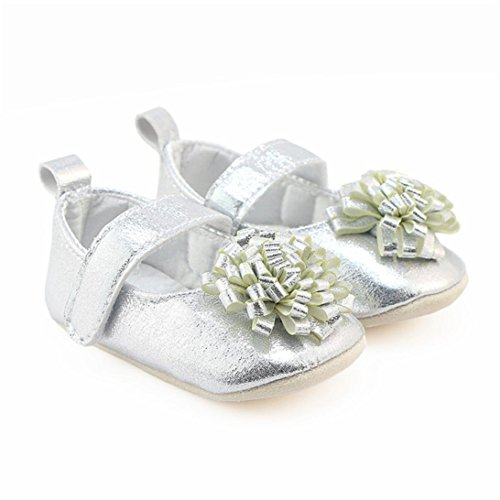 Clode® Mädchen Bowknot Schuhe Sneakers Casual rutschfeste Schuhe Lauflernschuhe Silber