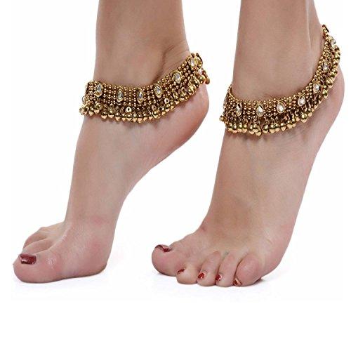 Shining Diva Antique Gold Kundan Payal Anklets For Girls & Women