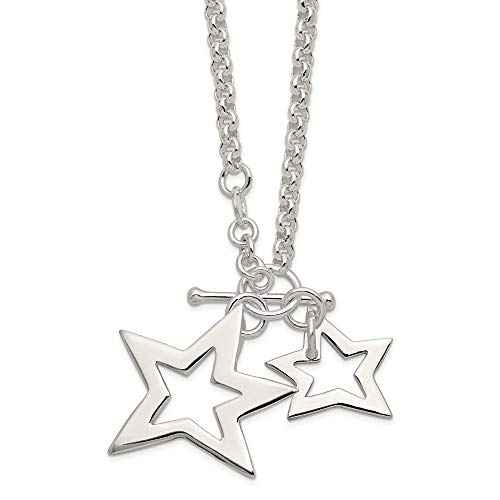 (925 Sterling Silver Stars Chain Necklace Pendant Charm Fancy Sun Moon Star Fine Jewelry Gifts For Women For Her)