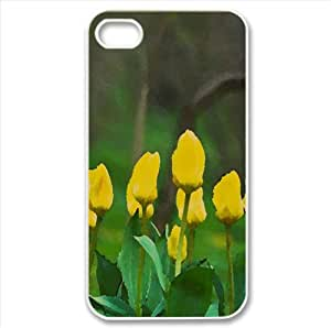 Yellow Tulips Watercolor style Cover iPhone 4 and 4S Case (Spring Watercolor style Cover iPhone 4 and 4S Case)