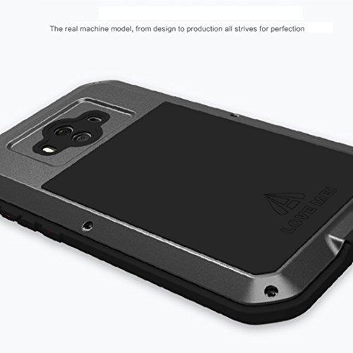 Huawei Mate 10 Funda, impermeable cover, Love Mei tarea pesada metal aluminio Alta Resistencia Military Heavy Duty Carcasa con cristal de gorila para Huawei Mate10 (negro) negro