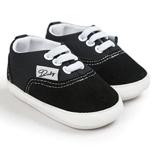 Tefamore BABY Zapatos bebé de lona de los muchachos del ocasionales Antideslizante Único de la zapatilla de deporte Negro