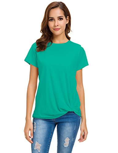 Cotton Armoire (MSHING Women's Casual Round Neck Short Sleeve T-Shirt Blouse Comfortable Cotton Basic Tops)
