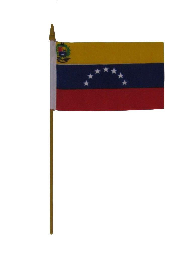 Venezuela 7 Star 4''x6'' Desk Flag Table Stick Gold Staff
