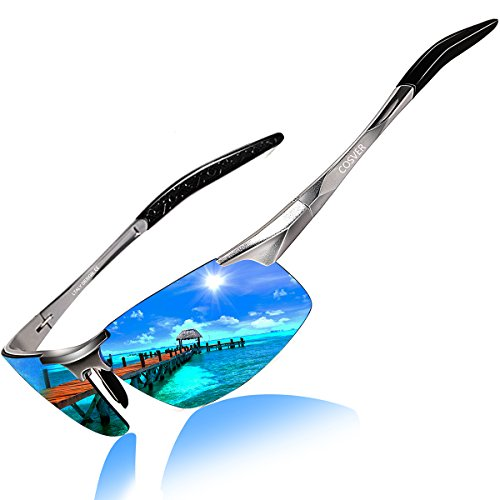 Style Polarized Sunglasses for Men Driving Cycling Running Fishing Golf Unbreakable Frame Metal Driver Glasses (Silver) (Magnesium Bike Frame)