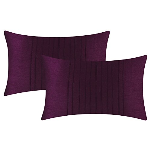 The White Petals Set of 2 Deep Purple Lumbar Pillow Cover with Pin Tucks Panel (12X16 inches, Deep Purple)