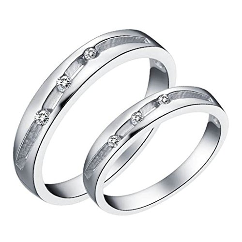 [Daesar Silver Plated Wedding Bands Womens Dull Polished Tiny Cubic Zirconia Rings 3mm Size:7.5] (Gold Antler Crown)