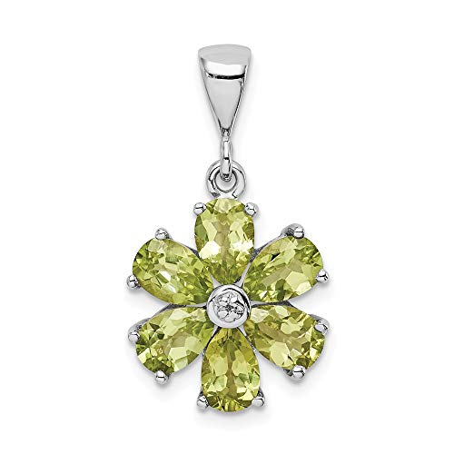 (925 Sterling Silver Green Peridot Diamond Flower Pendant Charm Necklace Gemstone Fine Jewelry Gifts For Women For Her)