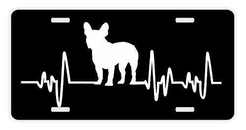 ThisWear French Bulldog License Plate Dog Lover Heartbeat French Bulldog Accessories French Bulldog Lovers Gifts French Bulldog Mom French Bulldog Dad Rescue Frenchie Dog Novelty License Plate Black ()
