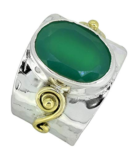YoTreasure Green Onyx Ring Solid 925 Sterling Silver Brass Designer Jewelry
