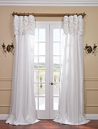 Captivating Half Price Drapes PTCH 120 120 RU Ruched Faux Silk Taffeta Curtain,