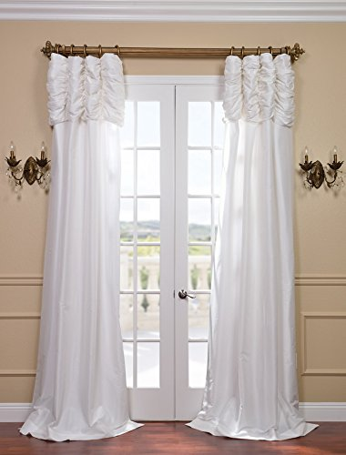 Taffeta Over - Half Price Drapes PTCH-120-108-RU Ruched Faux Silk Taffeta Curtain, Eggshell