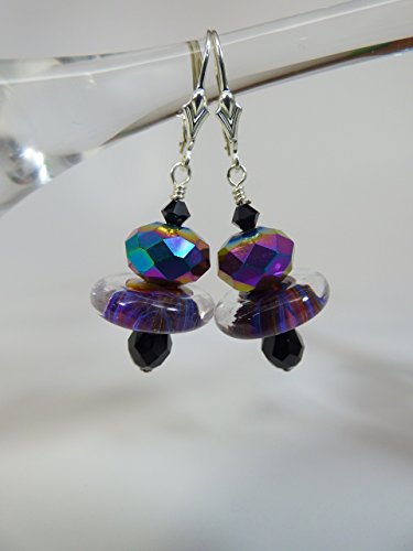Artisan Lampwork Disc Bead Earrings with Fire Polish, Swarovski Teardrops and Bicone Crystal Accents with Sterling Silver Leverback Ear Wires
