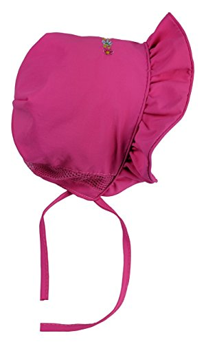 NIce Caps Baby Girls SPF 50+ Sun Protection Bonnet with Mesh Lining (Fuchsia, 6-12 Months)