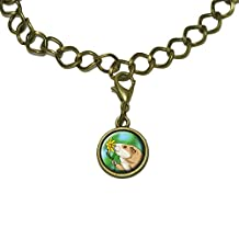 Guinea Pig Smelling Flower Charm with Chain Bracelet