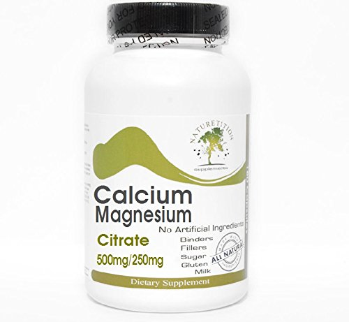 Calcium 500mg and Magnesium Citrate 250mg ~ 100 Capsules - No Additives ~ Naturetition Supplements