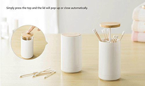 Cslives Toothpick Dispenser Floss Holder Push Style Automatic Retractable Cotton Swab Container for Makeup, Bathroom, Dining Storage