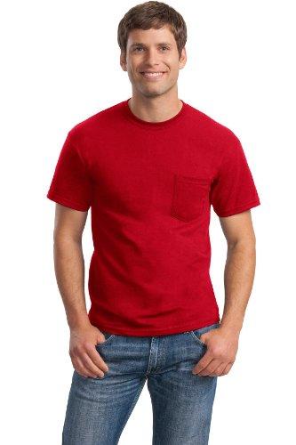 /50 Ultra Blend Pocket Tee Shirt, L, Red (50 Ultra Blend Pocket)