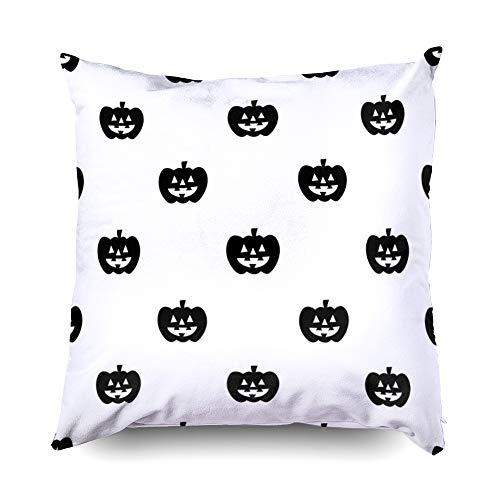 Shorping Zippered Pillow Covers Pillowcases 16X16 Inch Halloween Pumpkin Halloween Isolated Wallpaper Background Cartoon Decorative Throw Pillow Cover,Pillow Cases Cushion Cover for Home Sofa Bedding