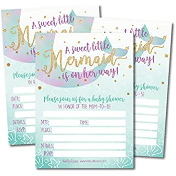 835a5345b 25 Mermaid Baby Shower Invitations, Sprinkle Invite for Girl, Under The Sea  Nautical On Her Way, Cute Printed Fill or Write in Blank Printable Card, ...