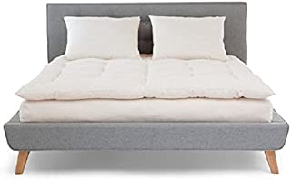product image for White Lotus Home Organic Cotton Mattress Topper with 100% Organic Twill Outer Case, King, Off White