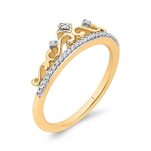 Diamond Crown Ring in 10K Yellow Gold (1/10 cttw) (Color-GH, Clarity-I2,I3) (Size-5.75)