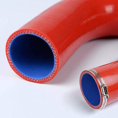 Silicone Radiator Coolant Hose Tube Kit Clamps For DODGE NEON SRT-4 SRT4 2.4L 2001 2002 2003 2004 2005 Red: Automotive
