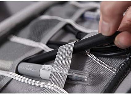 Baorio Gadget Bolsa con Doble Capa Caja de Almacenamiento ordenada con Doble Cremallera Bolsa organizadora de Cables con Correa de Transporte para Cables Banco de energ/ía Auriculares Azul