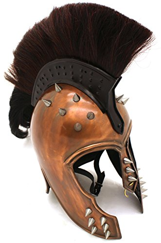 Medieval Warrior Brand 20G Steel Punk Trojan Helmet w/ Ponytail & Leather -