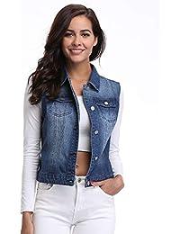Womens Denim Distressed Classic Vest Cotton