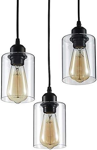 ZHU YAN Light Industrial 3-Light Pendant Lighting Farmhouse Pendant Lighting Kitchen Light Flush Mount Clear Glass Black,3 Light