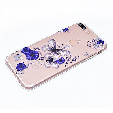 Fundas y estuches para teléfonos móviles, Para el iphone 7 más la caja del teléfono 7 mariposa y el patrón de flor suave tpu la caja material 6s del teléfono más 6 más 6s 6 se 5s 5 ( Modelos Compatibl IPhone 7 Plus