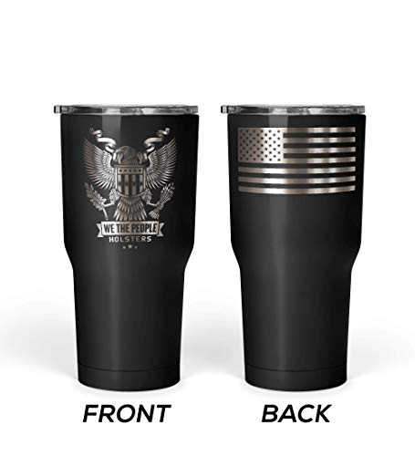 We The People - Patriotic USA Eagle Emblem Coffee Mug - Stainless Steel Travel Mug with American Flag - 30 oz Insulated Tumbler - American Flag Tumbler - American Patriotic Gift (Black)