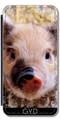 Leder Flip Case Tasche Hülle für Apple Iphone 7 / Iphone 8 - Wenig Niedlichen Gepunkteten Schweinchen by EDDA