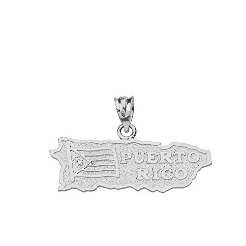 Puerto Rico US State Map Charm Pendant in Sterling Silver