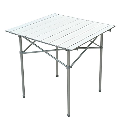 "28""X28"" Roll Up Portable Folding Camping Square Aluminum Picnic Table Desk W/Bag Seating Capacity 4 Easy To Clean Top Brand New"