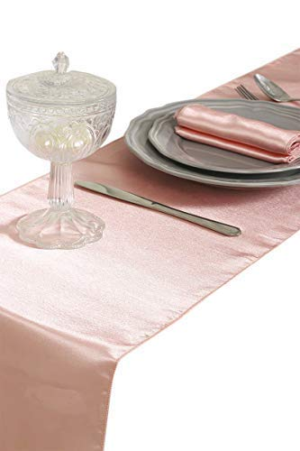 mds Pack of 10 Wedding 12 x 108 inch Satin Table Runner for Wedding Banquet Decoration- Blush -