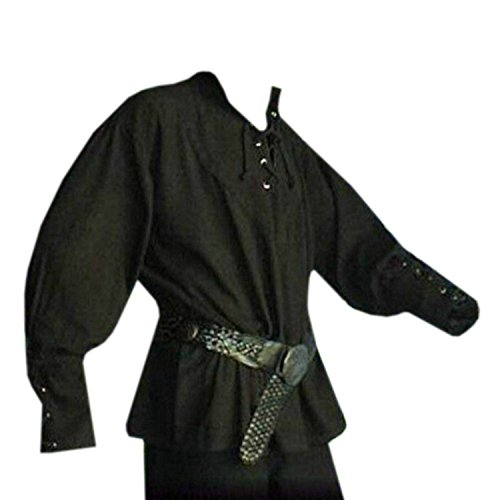 Mens Medieval Pirate Viking Renaissance Costume Adult Lace up Mercenary Scottish Wide Cuff Shirt Jacobite Ghillie Tops for $<!--$18.99-->