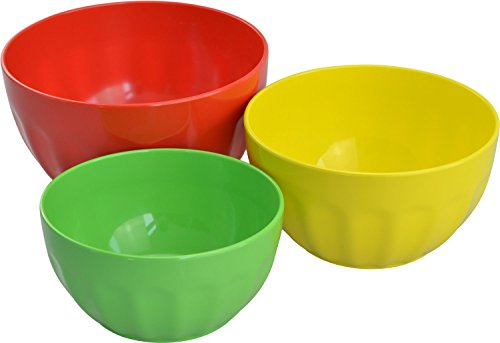 Surpahs Melamine Mixing Bowl Set, Salad Bowls, 3 Pieces (2Qt, 3Qt, 4Qt)